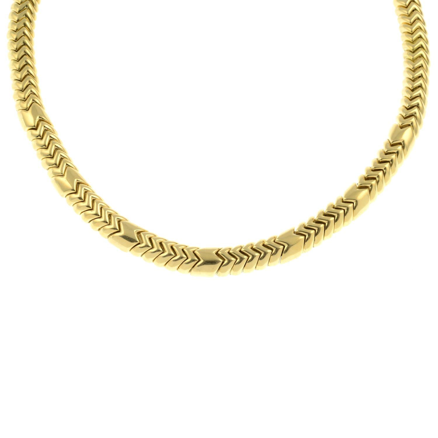 An 18ct gold 'Spiga' necklace, by Bulgari. - Image 2 of 6