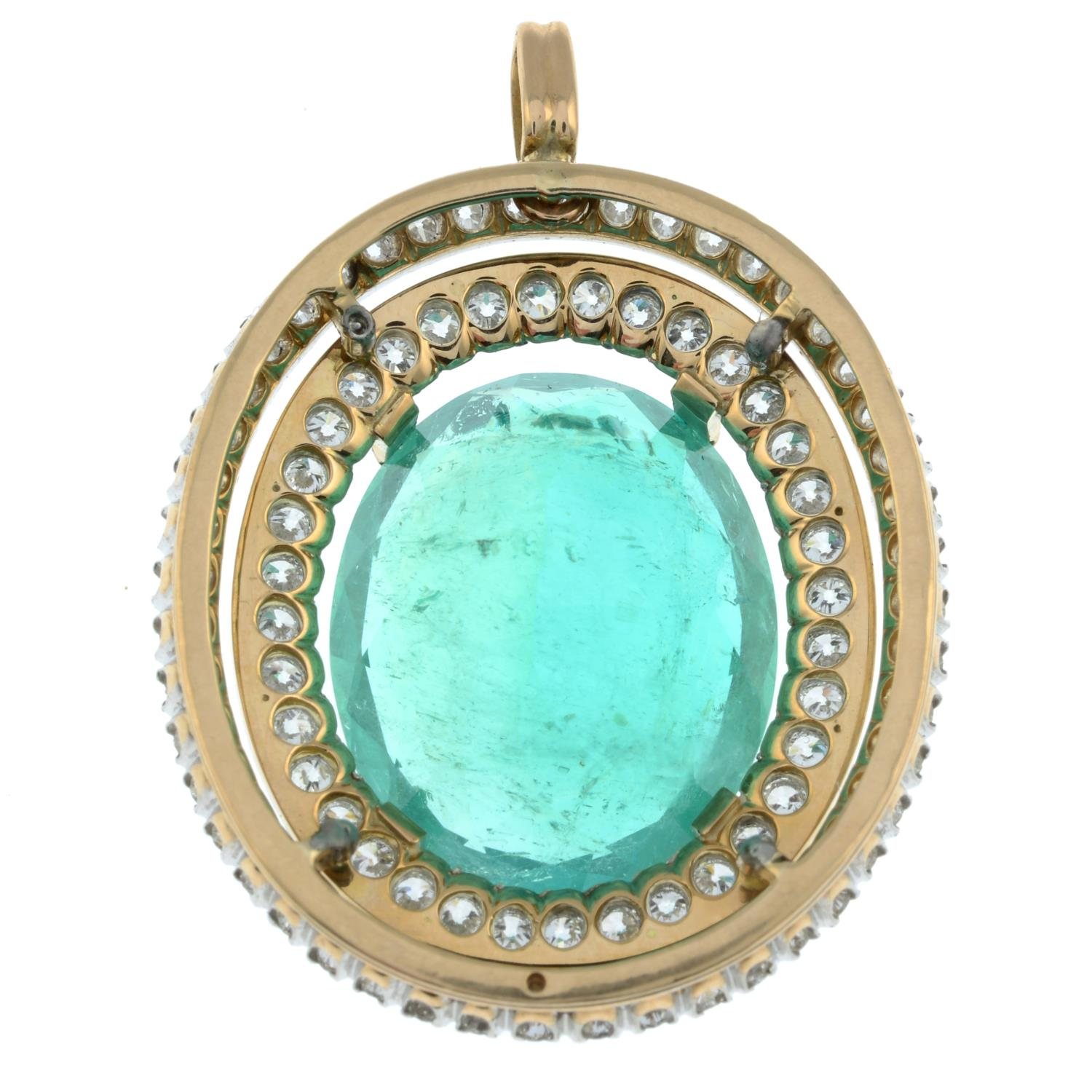 An emerald and circular-cut diamond pendant.With report 17203, - Image 4 of 5