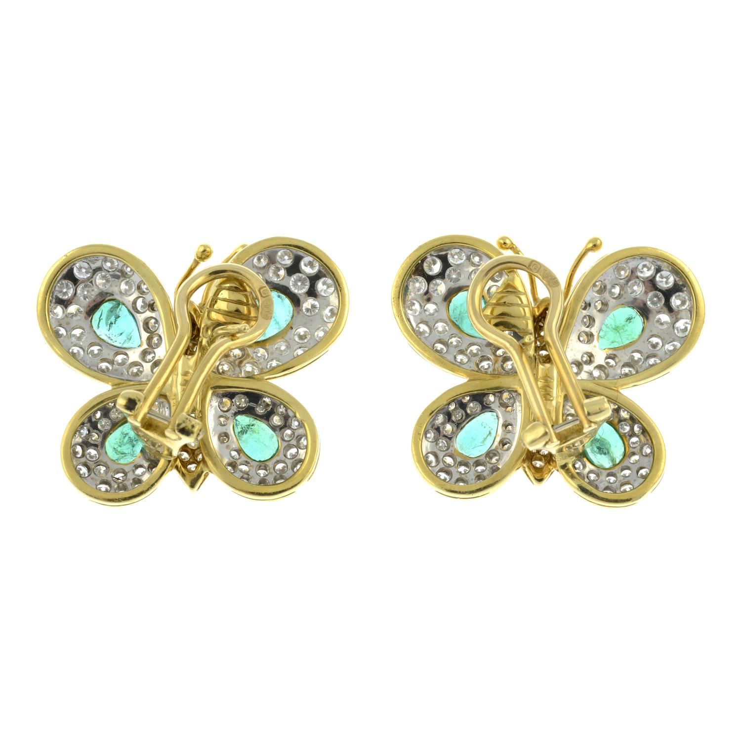 A pair of 1970s 18ct gold emerald and diamond butterfly earrings, - Image 3 of 3