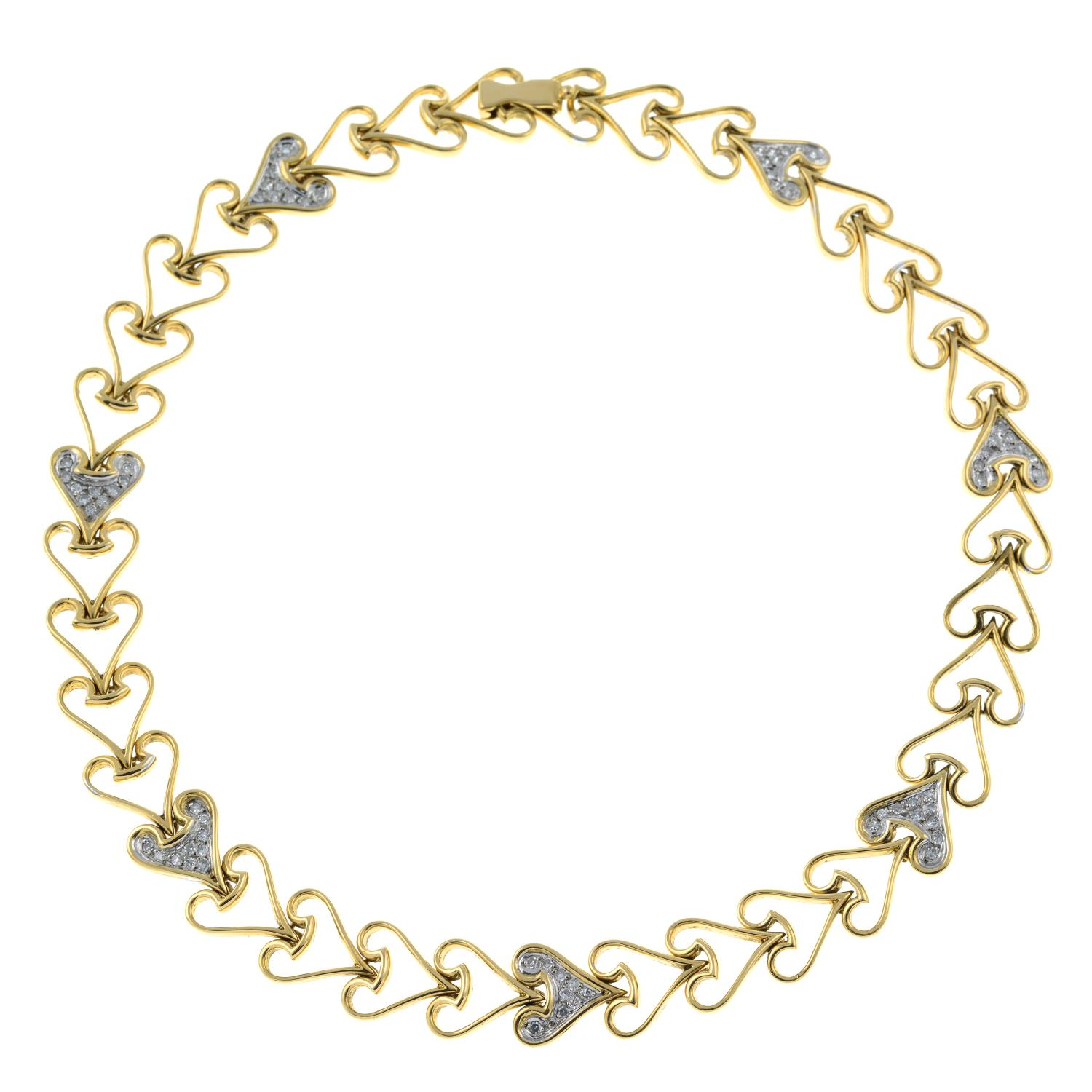 A heart motif necklace, with pavé-set diamond highlights. - Image 4 of 5
