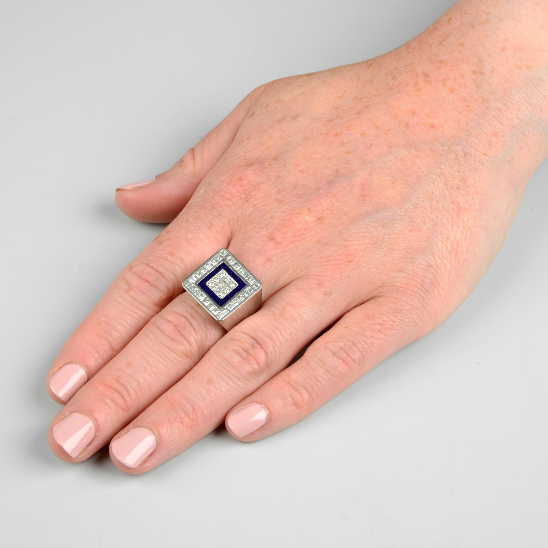 A diamond and lapis lazuli ring, - Image 3 of 7
