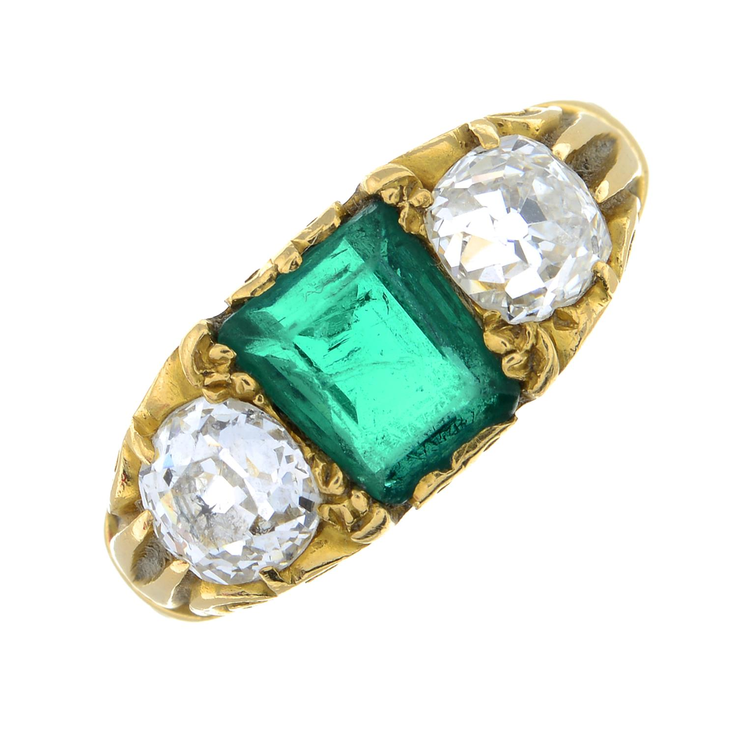 A late Victorian 18ct gold Colombian emerald and old-cut diamond three-stone ring.Verbal from GCS, - Image 2 of 8