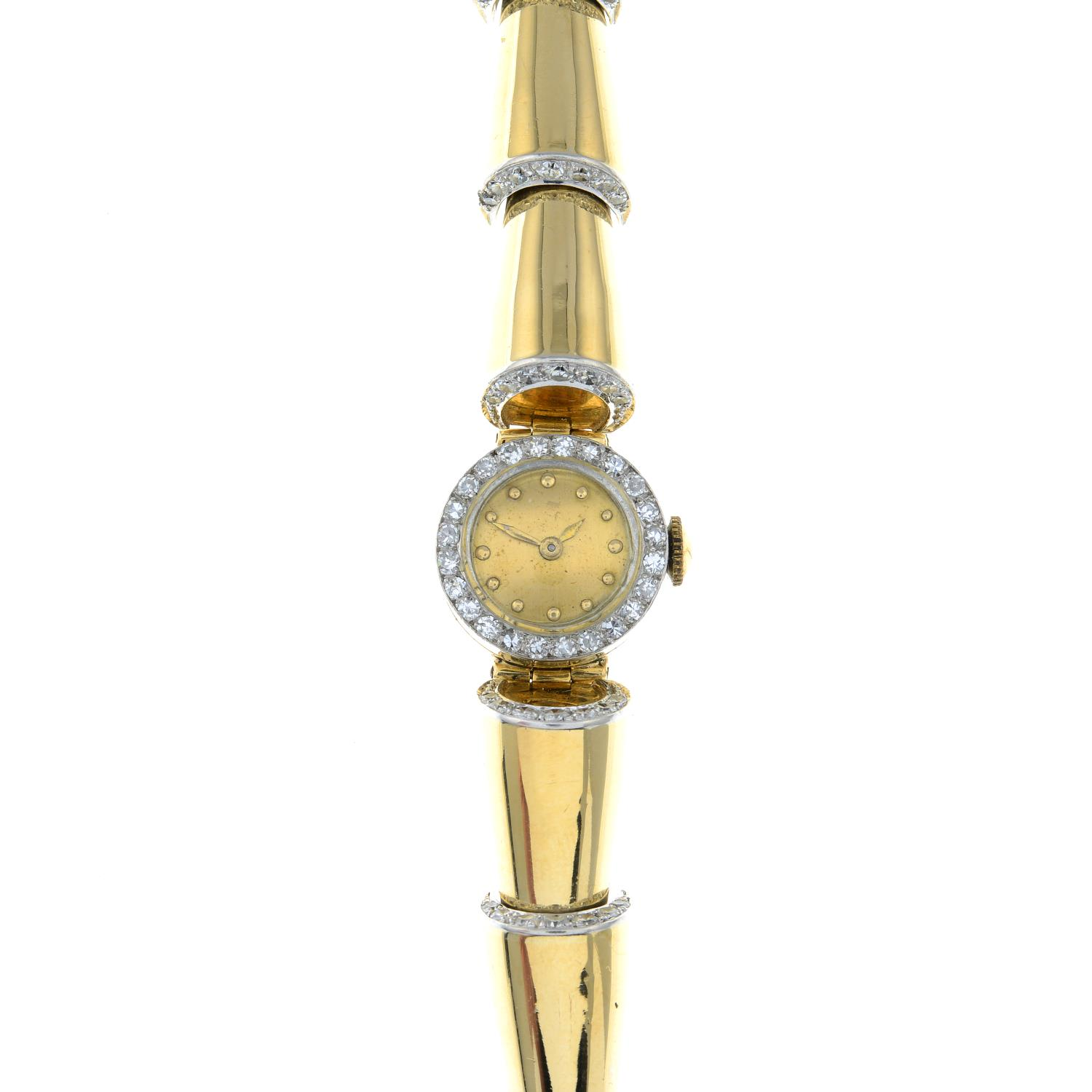 A 1940s gold diamond cocktail watch.Estimated total diamond weight 1.35cts, - Image 2 of 5