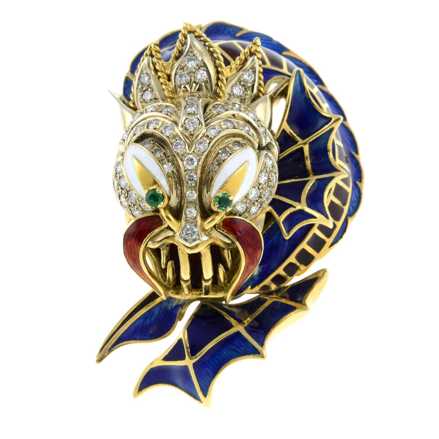 A mid 20th century 18ct gold enamel, - Image 2 of 4