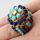 A mid 20th century textured 18ct gold diamond,