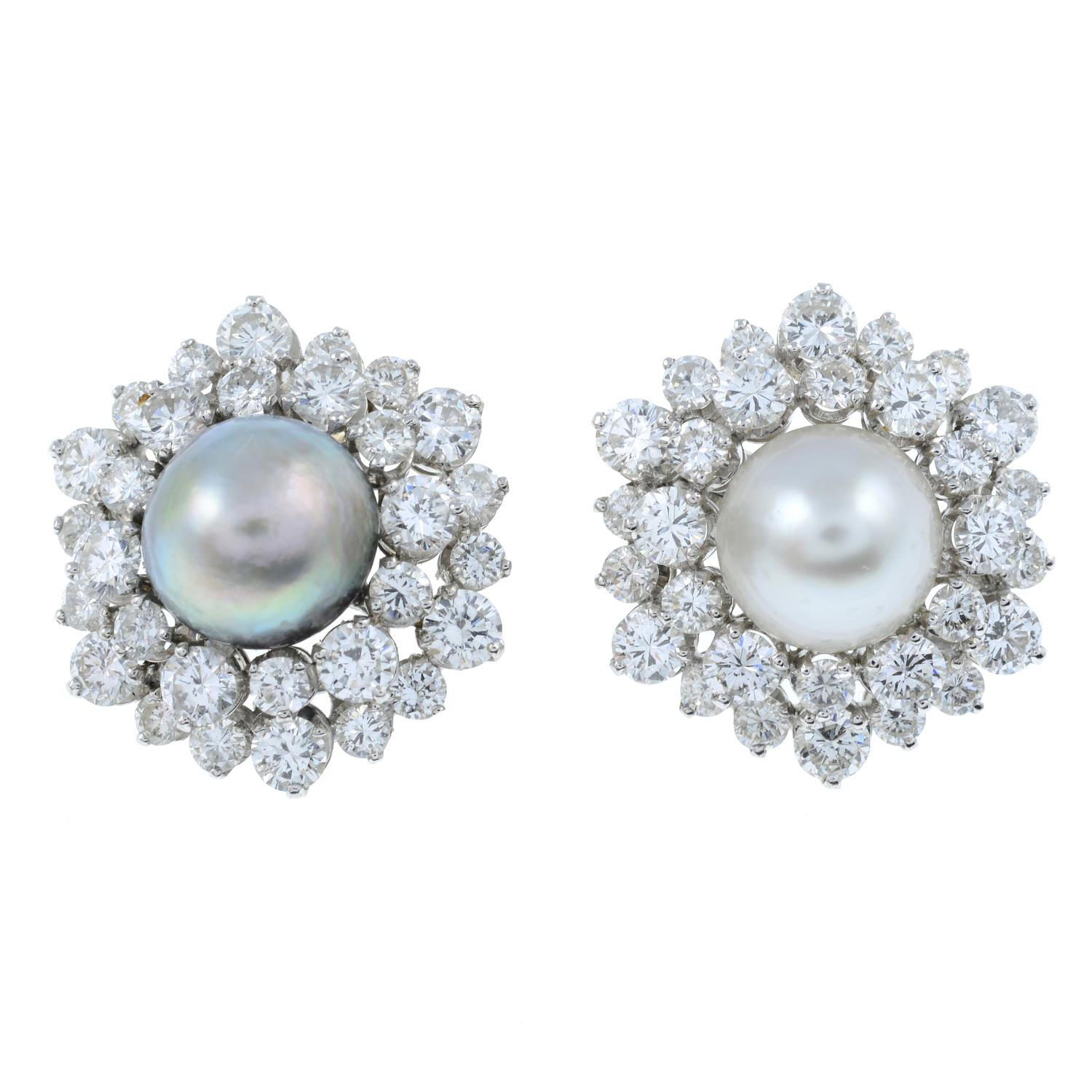 A pair of natural pearl and diamond cluster earrings.With report 77110-13, - Image 2 of 4