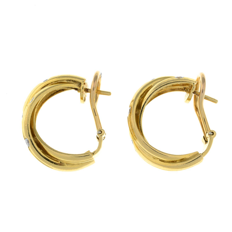 A pair of diamond 'Trinity' hoop earrings, - Image 3 of 4
