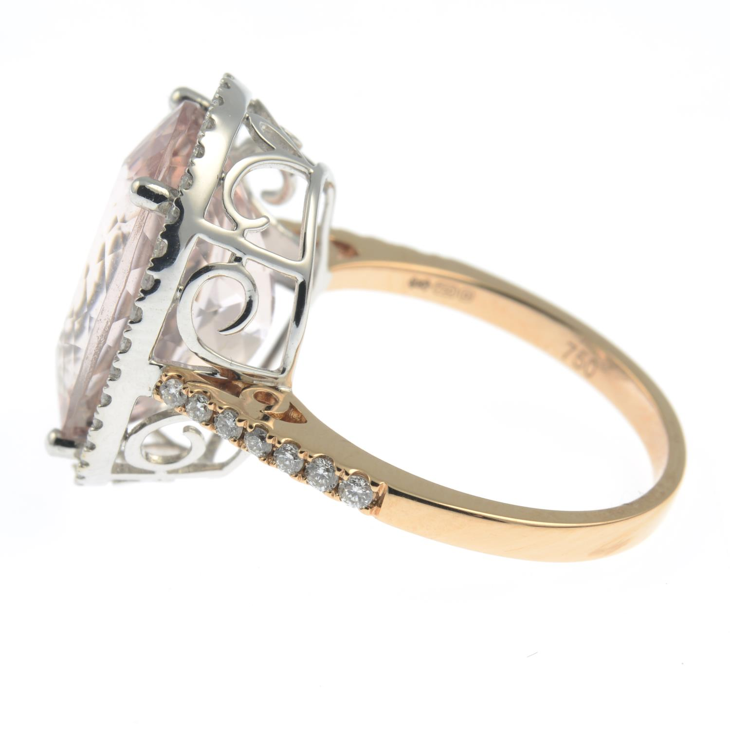 An 18ct gold morganite and diamond cluster ring. - Image 7 of 7