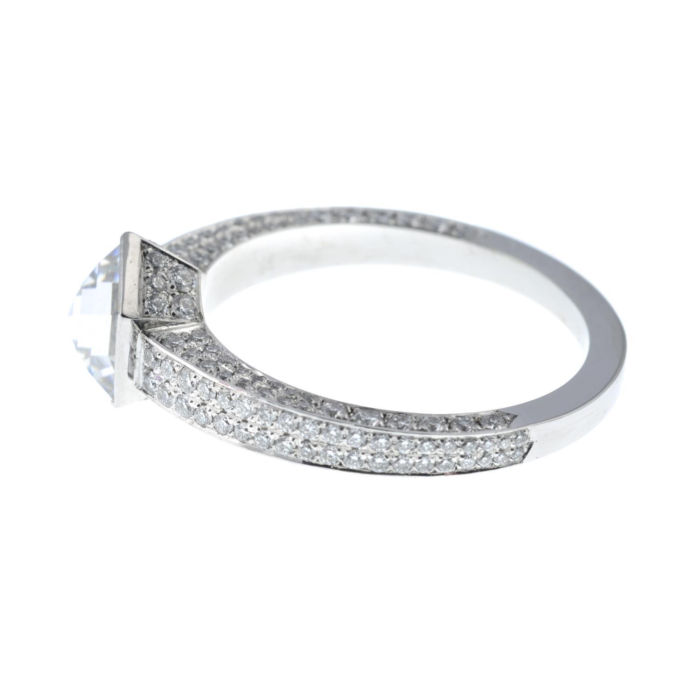 A platinum hexagonal-cut diamond single-stone ring, - Image 5 of 7