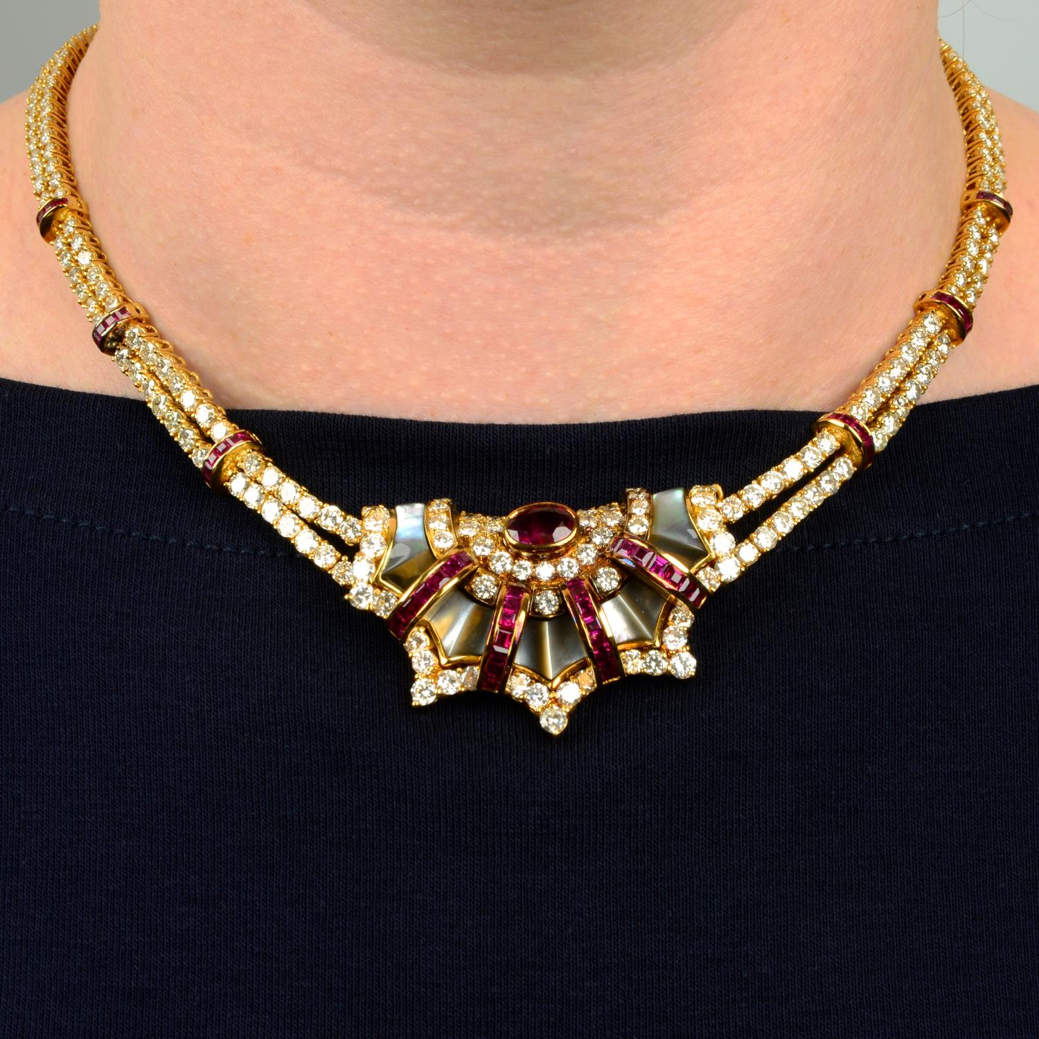 A diamond, ruby and grey mother-of pearl necklace,
