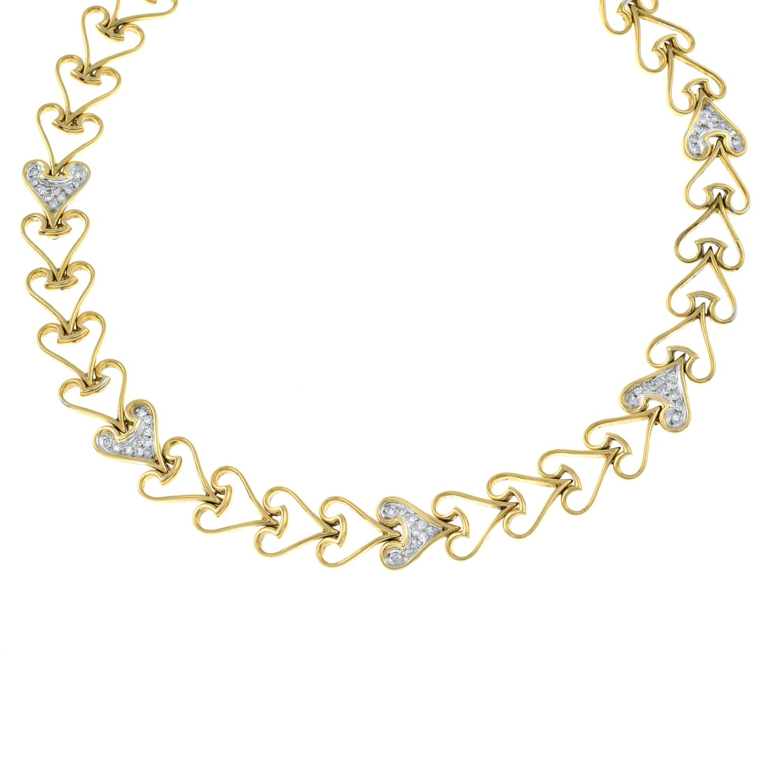 A heart motif necklace, with pavé-set diamond highlights. - Image 2 of 5
