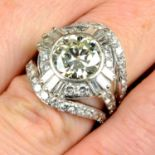 An 18ct gold diamond cocktail ring.Principal diamond estimated weight 3.20cts,