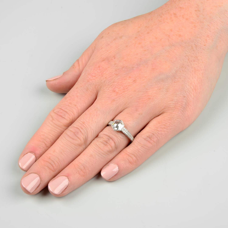 A platinum hexagonal-cut diamond single-stone ring, - Image 3 of 7