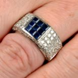 A calibré-cut sapphire and pavé-set diamond band ring.Estimated total diamond weight 1.25cts,