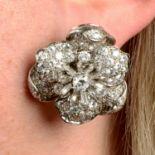 A pair of vari-cut diamond floral earrings,