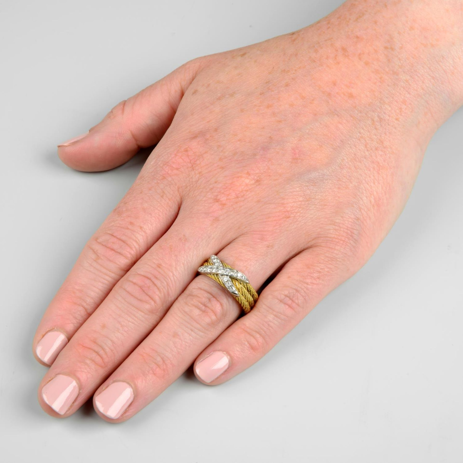 A rope-twist band ring, with pavé-set diamond cross highlight. - Image 3 of 5