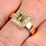 An 18ct gold brilliant-cut diamond square-shape 'Happy Diamonds' 'Icons' ring, by Chopard.