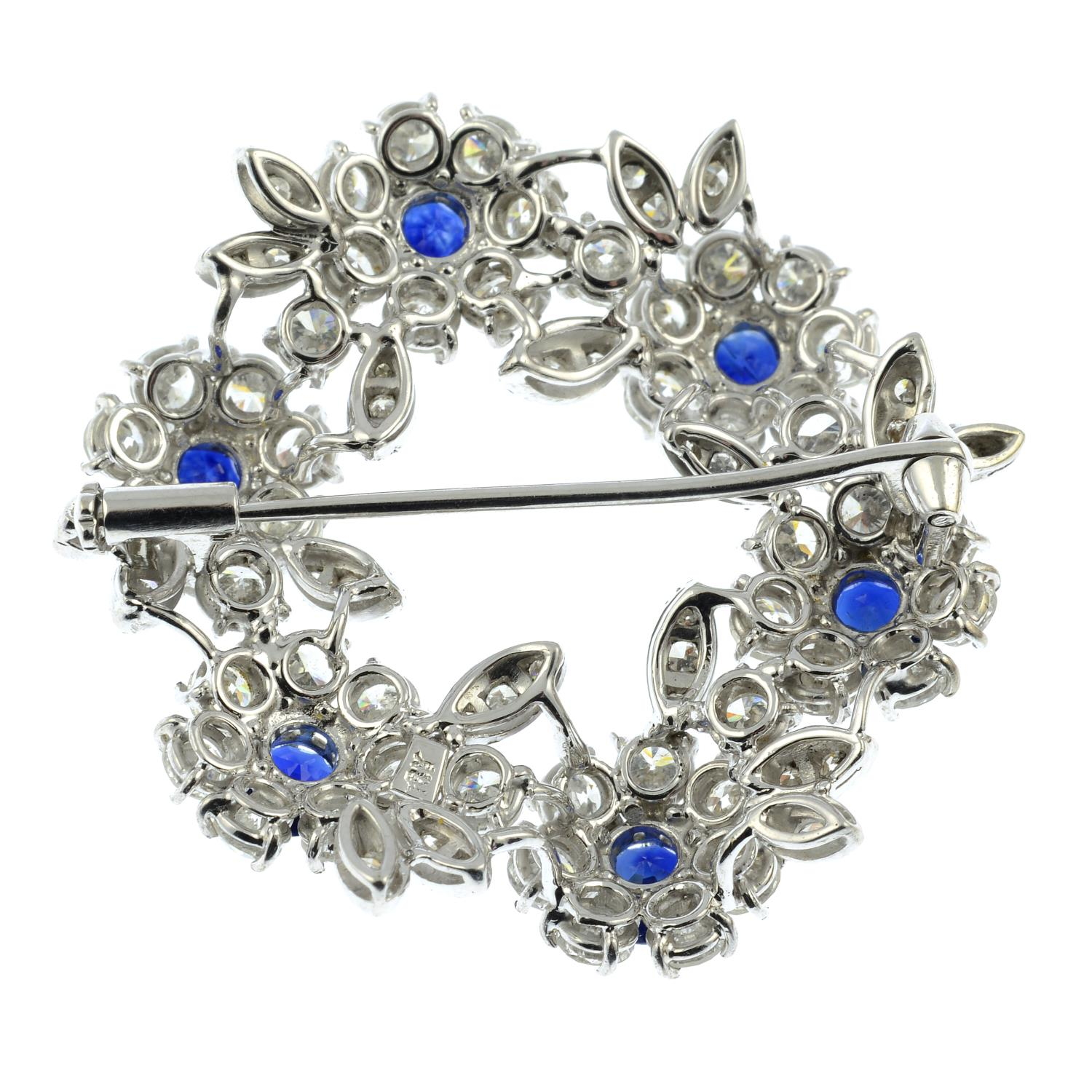 A mid 20th century 18ct gold sapphire and diamond floral wreath brooch.Estimated total sapphire - Image 4 of 4