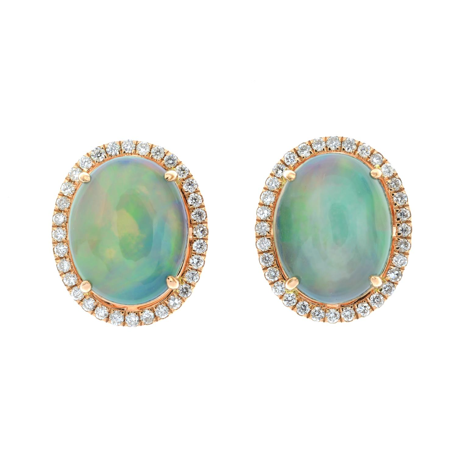 A pair of opal cabochon and brilliant-cut diamond cluster earrings.Total opal weight 2.85cts.Total - Image 2 of 3