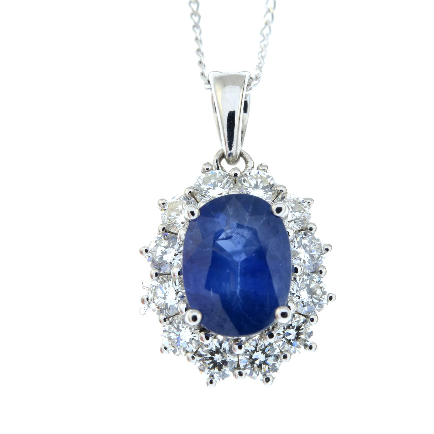 An 18ct gold sapphire and brilliant-cut diamond cluster pendant, - Image 2 of 5