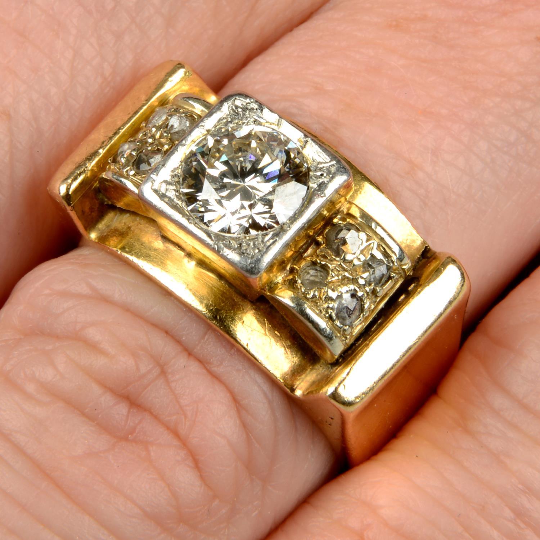 A mid 20th century 18ct gold and platinum diamond dress ring.Principal diamond estimated weight