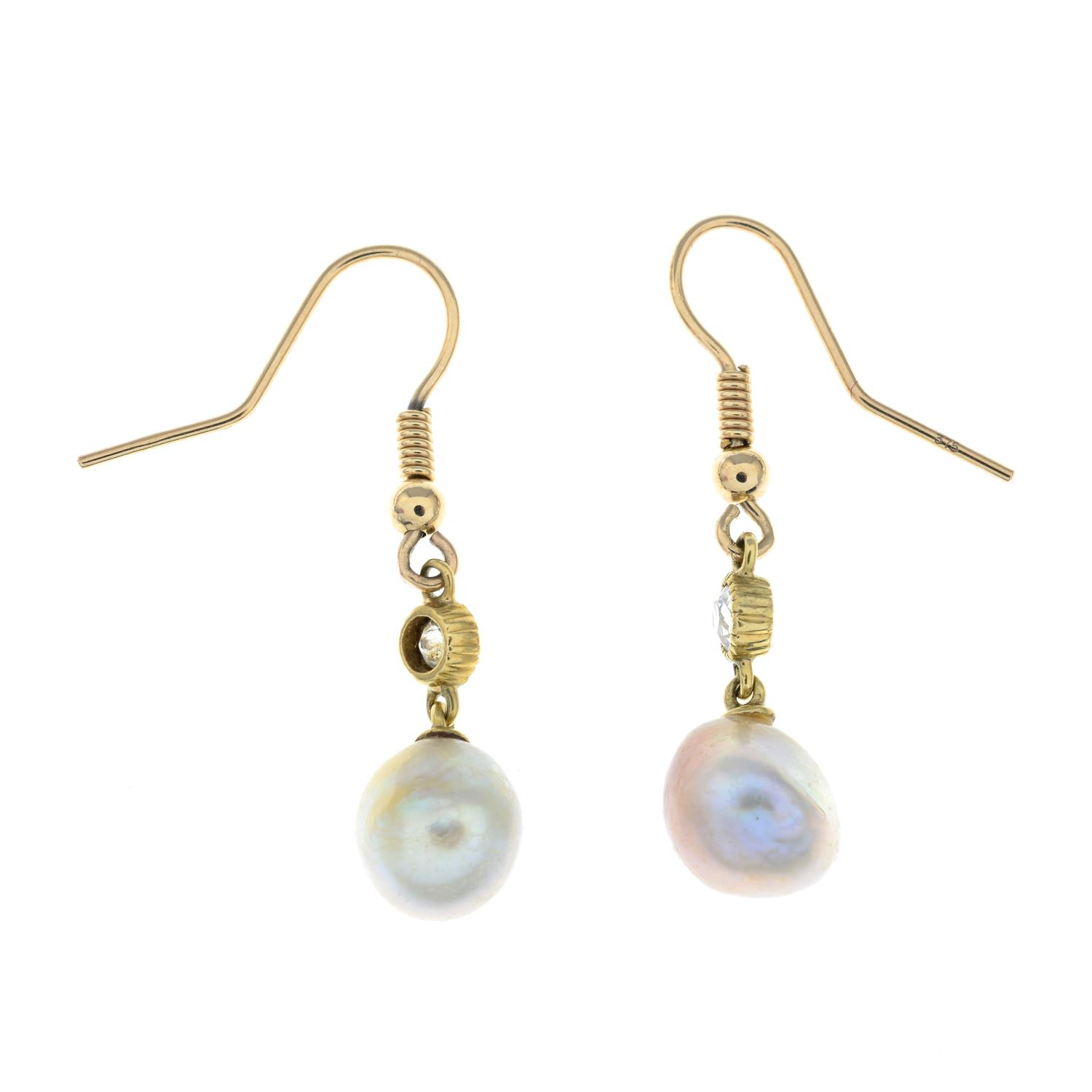 A pair of natural pearl and old-cut diamond drop earrings. - Image 3 of 3
