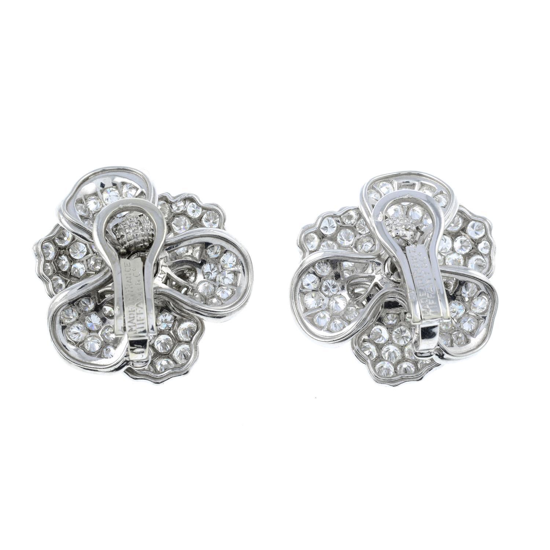 A pair of vari-cut diamond floral earrings, - Image 3 of 3