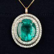 An emerald and circular-cut diamond pendant.With report 17203,