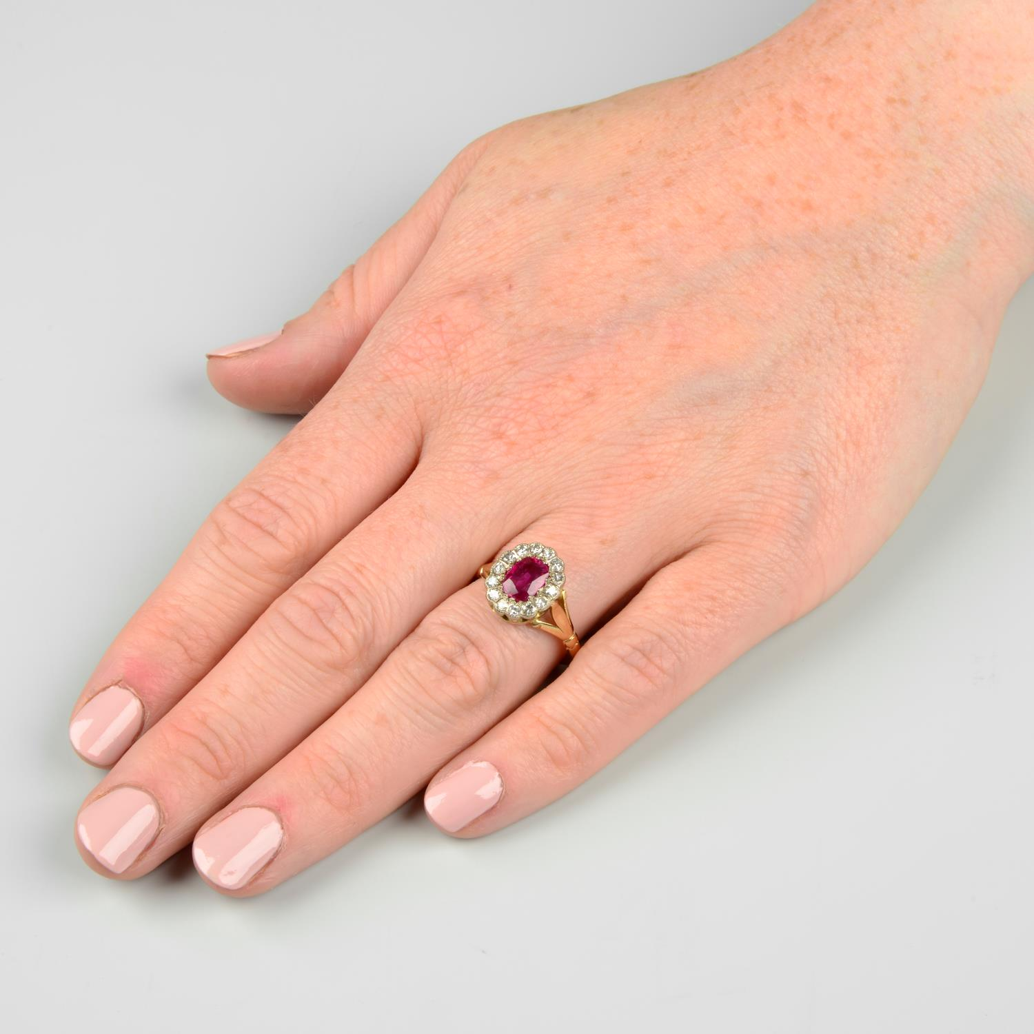 A Burmese ruby and diamond cluster ring.With report 81314-48, - Image 3 of 7