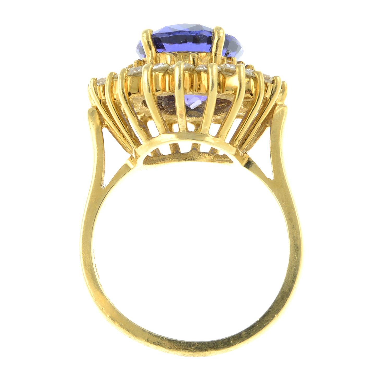 A tanzanite and vari-cut diamond cluster ring.Tanzanite calculated weight 5.41cts, - Image 6 of 6