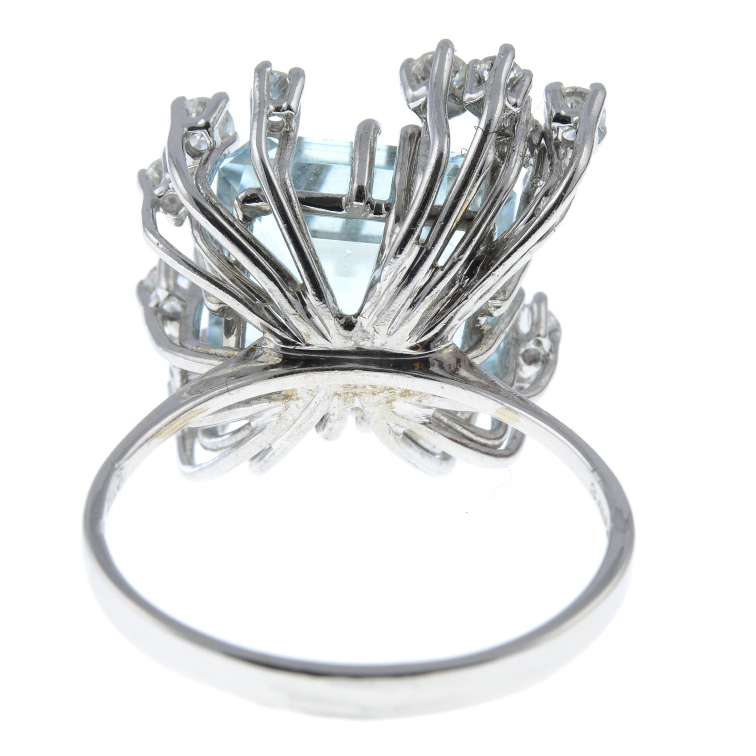 A 1970s 18ct gold aquamarine and diamond cocktail ring.Aquamarine calculated weight 7.20cts, - Image 5 of 6