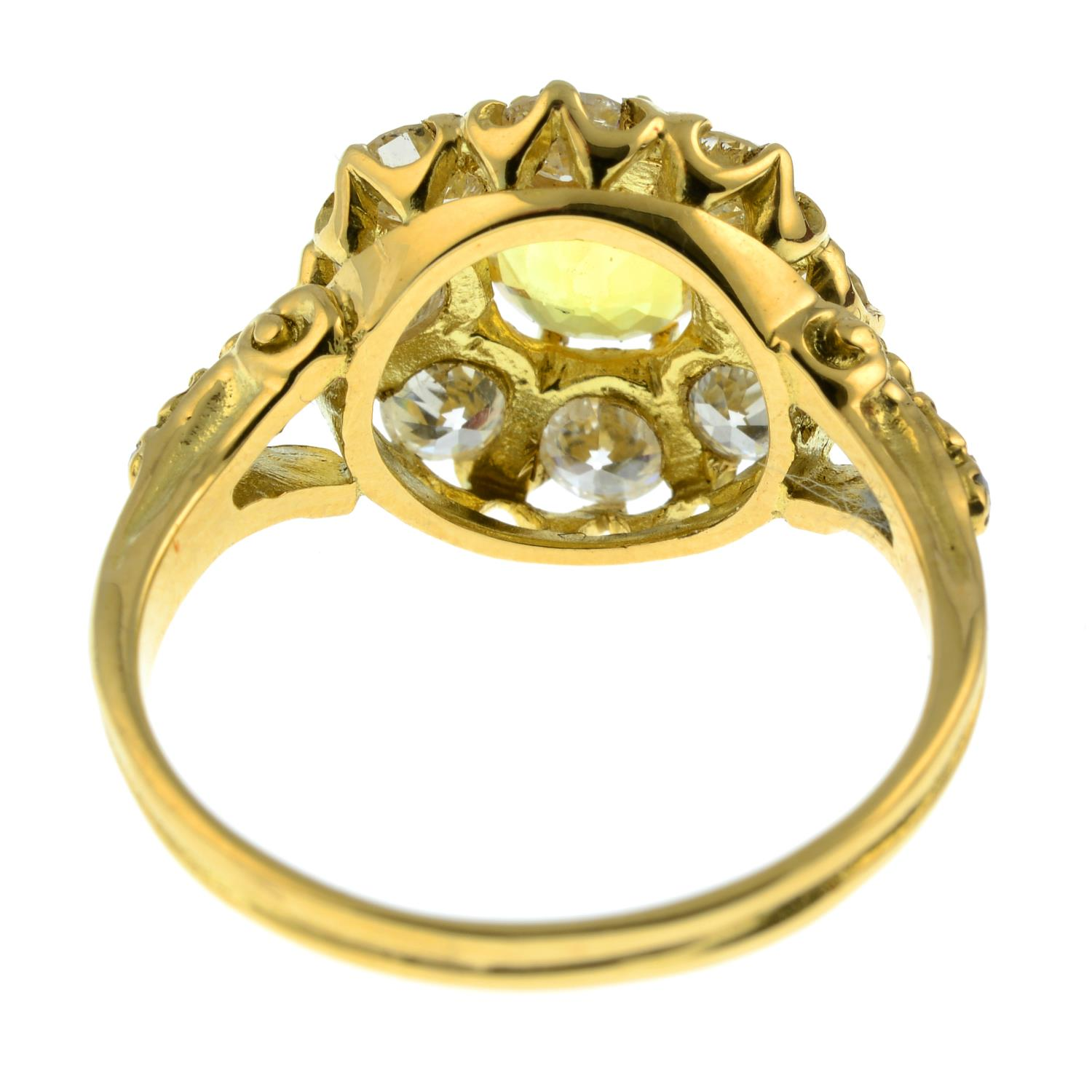 A yellow sapphire and old-cut diamond cluster ring.Sapphire calculated weight 1.05cts, - Image 5 of 6