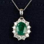 An 18ct gold emerald and brilliant-cut diamond cluster pendant,