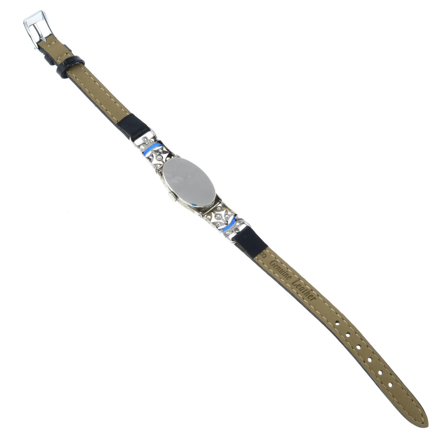 A mid 20th century platinum enamel and diamond cocktail watch, with later leather strap. - Image 4 of 4