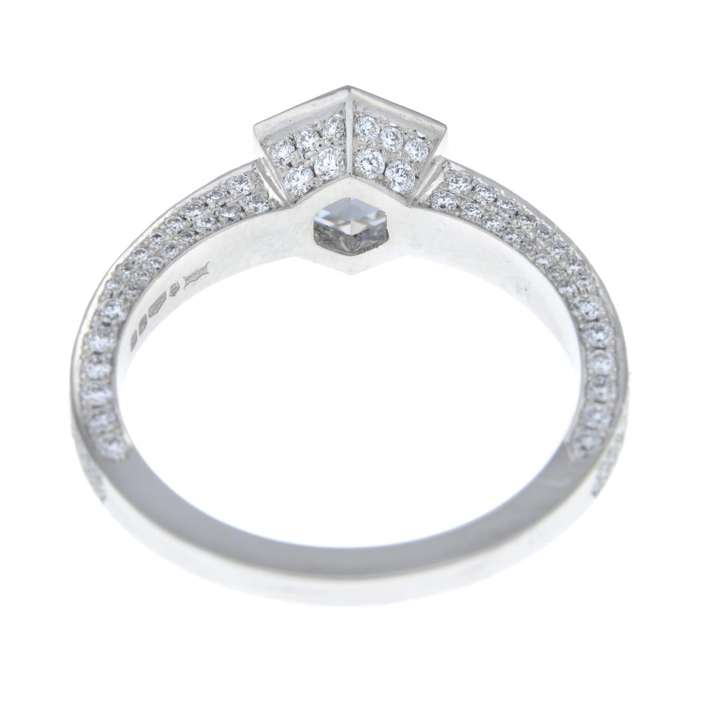 A platinum hexagonal-cut diamond single-stone ring, - Image 4 of 7