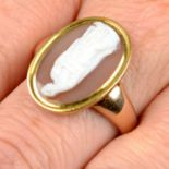 A 19th century gold agate cameo ring,