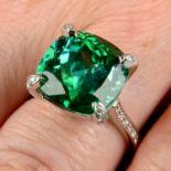 A green tourmaline dress ring,