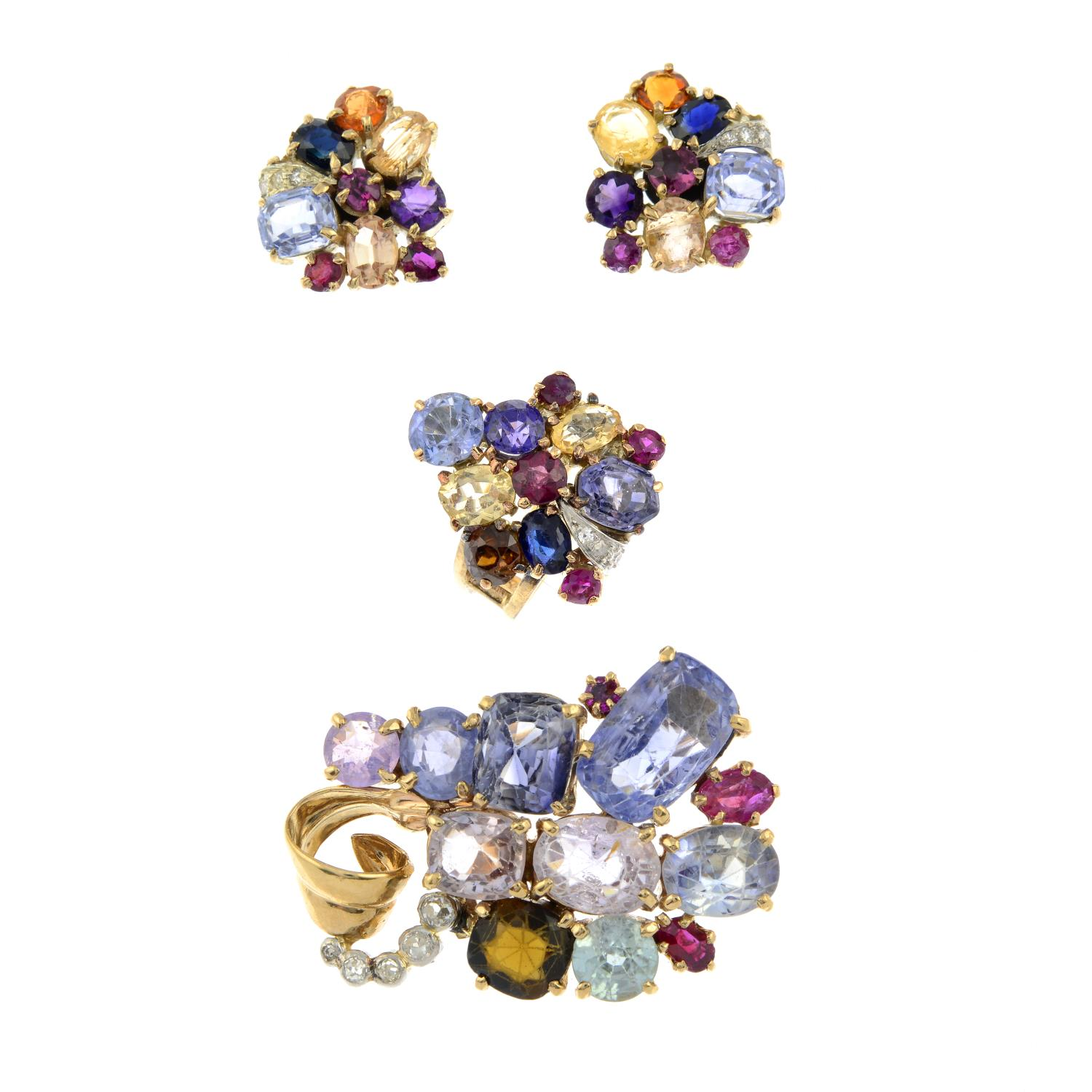 An early to mid 20th century multi-gem set, - Image 2 of 4