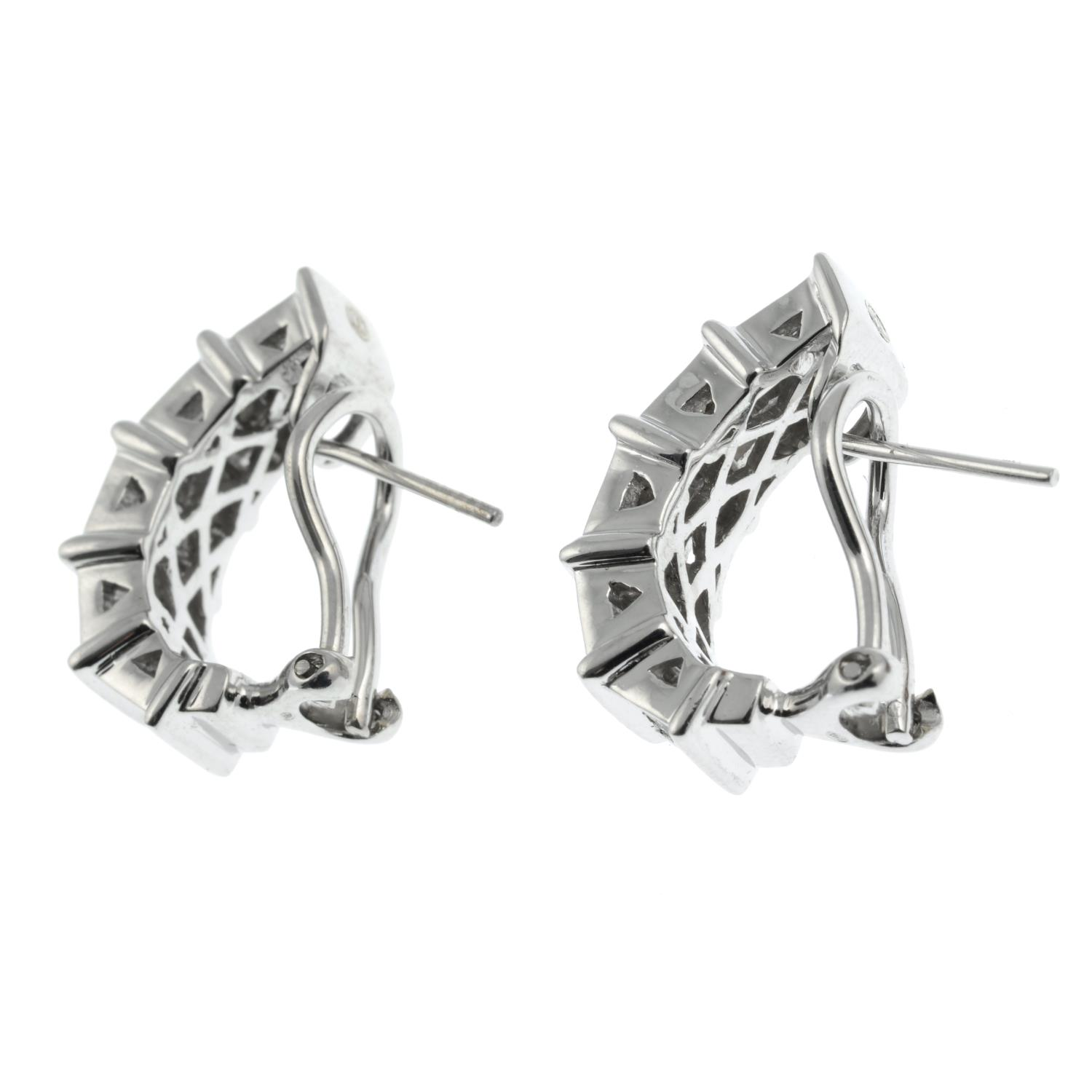 A pair of square-shape diamond half-hoop earrings.Estimated total diamond weight 2cts, - Image 3 of 3