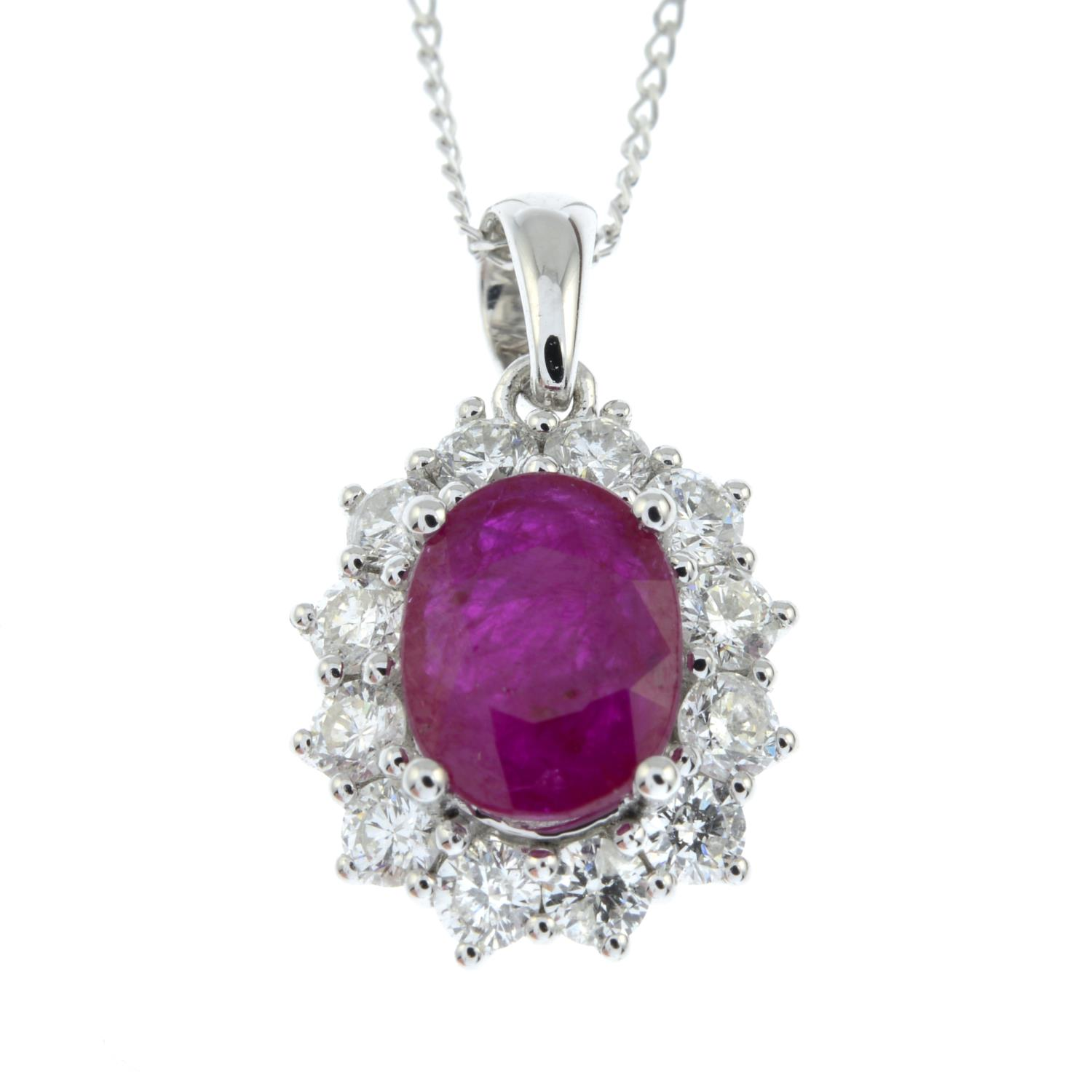 An 18ct gold ruby and brilliant-cut diamond cluster pendant, - Image 2 of 5