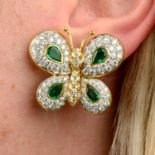 A pair of 1970s 18ct gold emerald and diamond butterfly earrings,