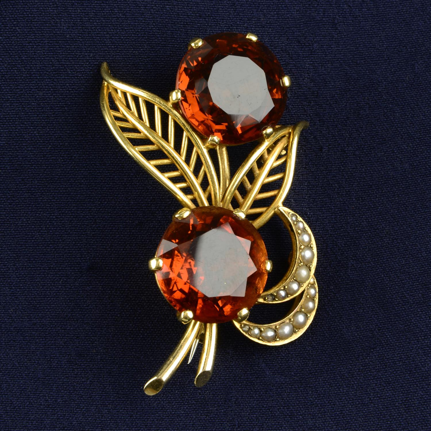 A mid 20th century 18ct gold citrine and split pearl floral spray brooch.Citrine calculated total