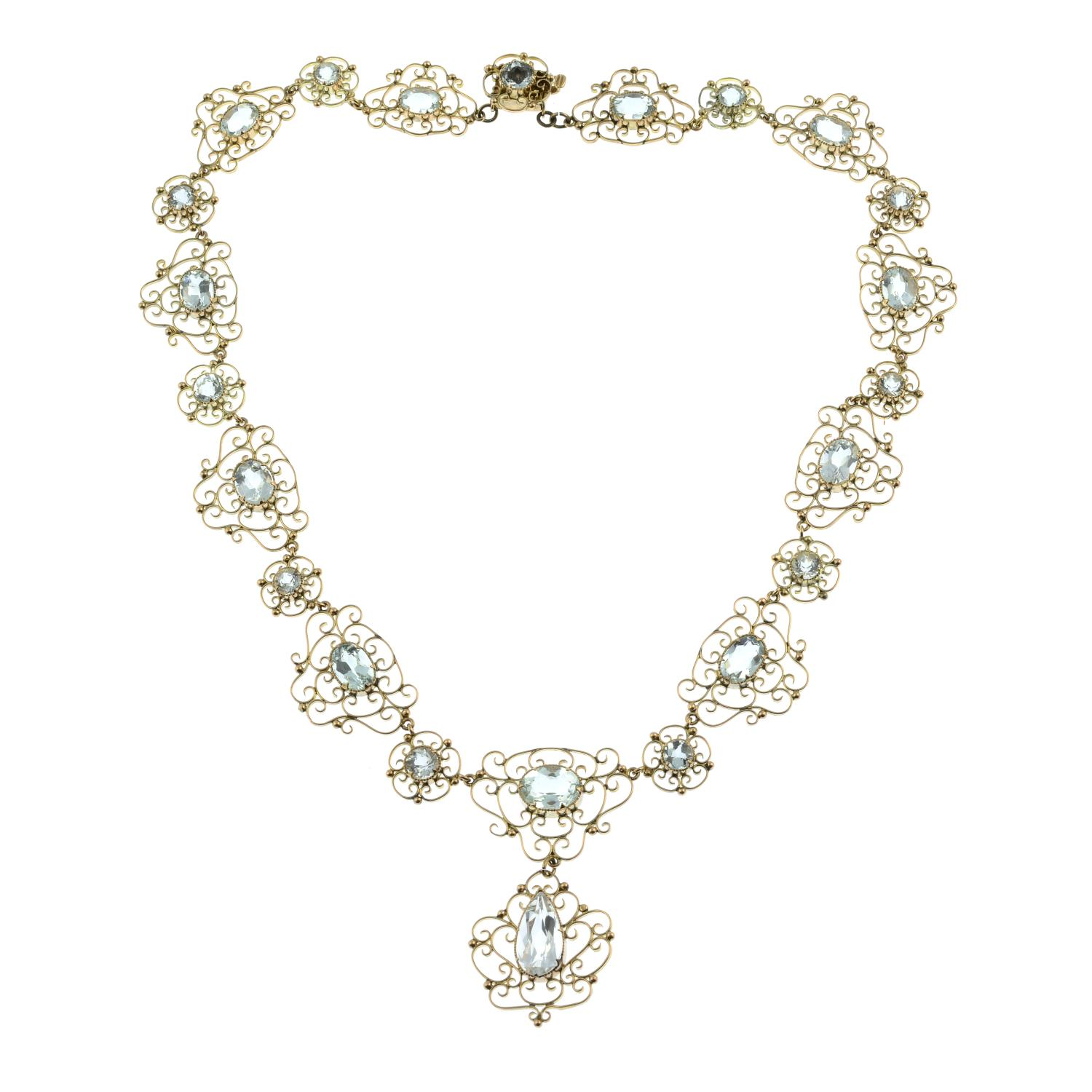 An early 20th century Arts & Crafts gold aquamarine necklace.Length 43.5cms. - Image 4 of 6
