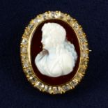 A late 19th century 18ct gold agate cameo and old-cut diamond brooch, depicting a lady in profile.