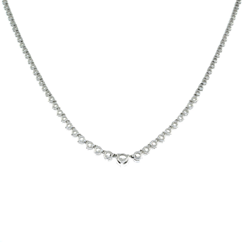 A graduated brilliant-cut diamond line necklace. - Image 5 of 6