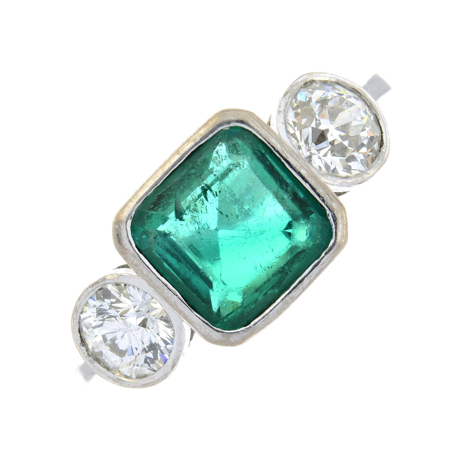 An 18ct gold emerald and old-cut diamond three-stone ring.Emerald calculated weight 1.04cts, - Image 2 of 6
