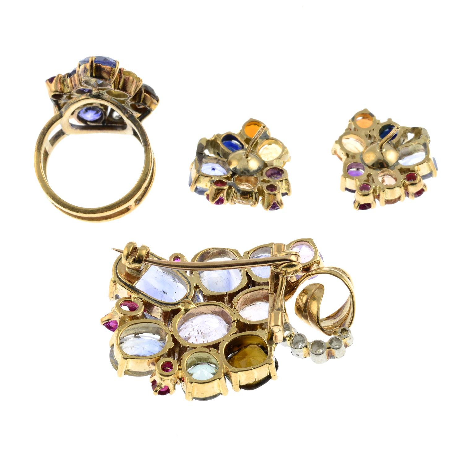 An early to mid 20th century multi-gem set, - Image 4 of 4