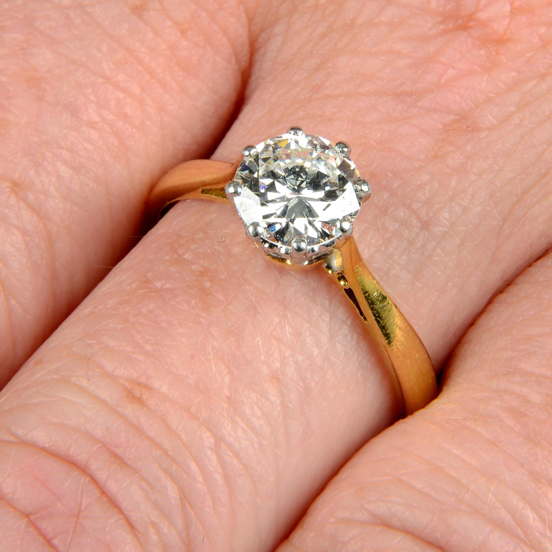 An 18ct gold brilliant-cut diamond single-stone ring.Diamond estimated weight 1.30cts,