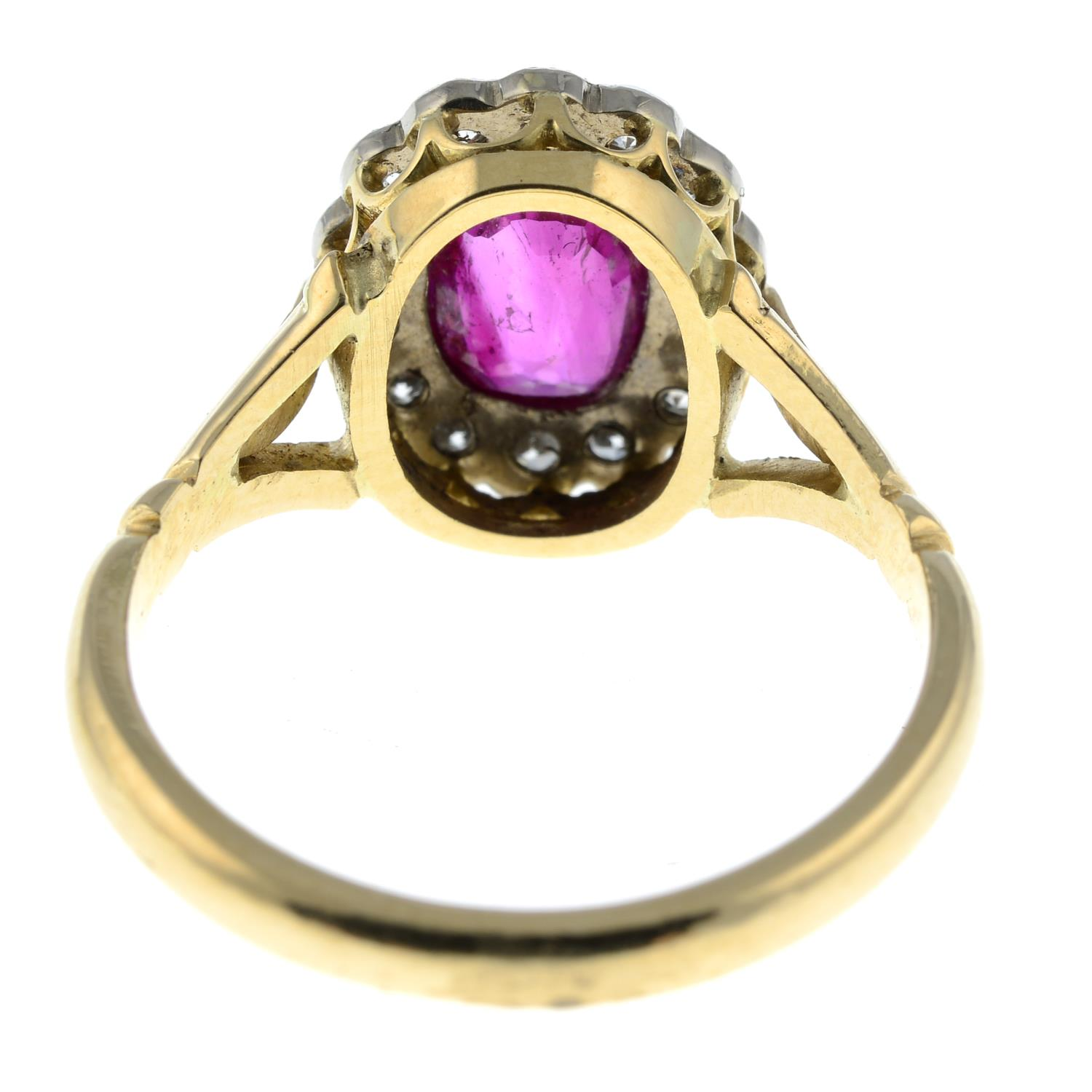 A Burmese ruby and diamond cluster ring.With report 81314-48, - Image 5 of 7
