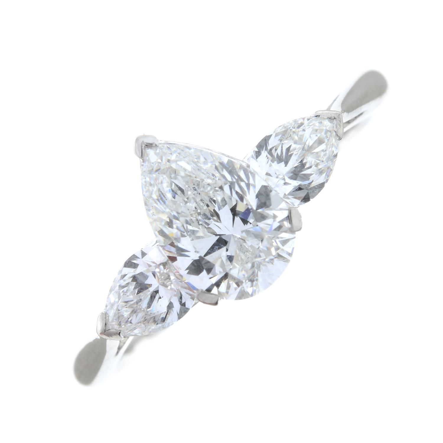 A pear-shape diamond three-stone ring.With report 1146953348, - Image 2 of 7